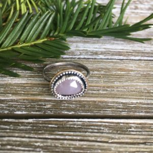 rose cut pink sapphire ring