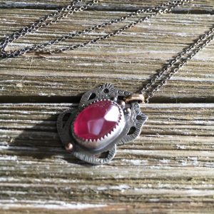 pink tourmaline silver necklace